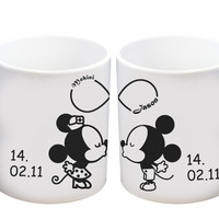 Personalized Name Mickey and Minnie Mouse Disney Matching Mugs Couple Mugs Ceramic Gift Mugs Gift Idea