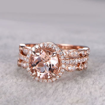 3pcs 8x8mm round Morganite Bridal Ring Set,Engagement ring Rose gold,Curved Diamond wedding band,14k,Promise Ring,Art Deco matching band