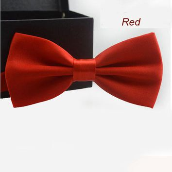 New Adjustable Men's Multi Silk Pine Bow tie Wedding Party Necktie Bowtie For Men Candy Solid Colors Neckwear Pre-Tied 19525