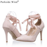 Parkside Wind Pointed-toe High Heels Cross-tied Summer Sandals Suede Leather Sexy Girl's Pumps Summer Nude Shoes for Women-5