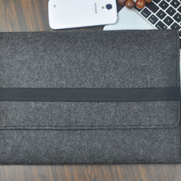Surface Pro 4 case, Surface Pro 4 sleeve , Surface Pro case, Felt laptop case , Microsoft Surface case, Grey bag, Surface Pro cover