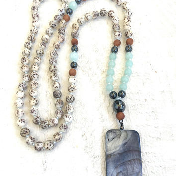 Boho Chic Mala Beads, Amazonite Mala Necklace, Salwag Seed Mala Beads, Bohemian Necklace, Natural Jewelry, Unique Mala Necklace, Yoga Beads