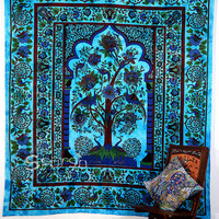 Tree of Life Tapestry, Temple Tree of Life Hippie Tapestries Wall Hanging Bedspread Throw Boho Bohemian Coverlet Ethnic Home Decorative Art