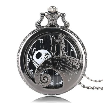Retro Casual Fashion Kids Hollow The Nightmare Before Christmas Girl Theme Quartz Pocket Watch Necklace Chain Gift Men Women