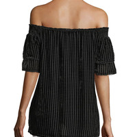 Trina Turk Amaris Off-the-Shoulder Velvet Grid Top