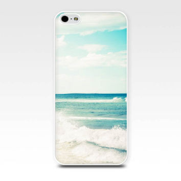 nautical iphone case 5s iphone 4s case beach scene iphone case fine art iphone 4 case 5 ocean iphone case teal surf photography case blue