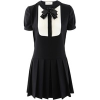 Saint Laurent Paris Black White Sequin Bow Dress
