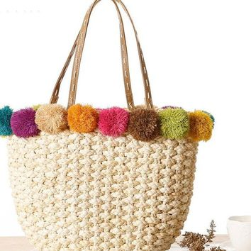 Raffia & Corn Skin Woven Handbags Straw Handmade Shoulder Bag Tote