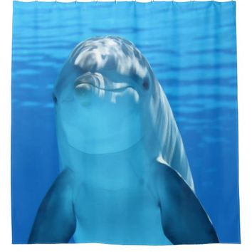 Friendly Dolphin Beautiful Blue Water Shower Curtain