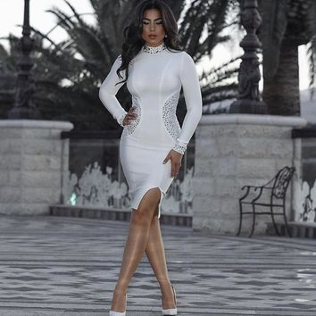 Long Sleeve Mock Neck Beaded Bandage Dress