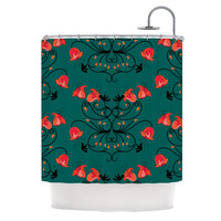 "Yenty Jap ""Hummingbird"" Teal Red Shower Curtain"