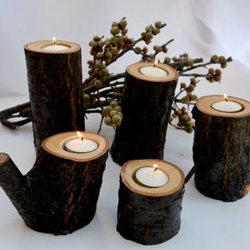 Set of 36 Rustic Wood Candle Holder , Tree Branch Candle Holder , Rustic Wedding Centerpieces , Wood Tea Light Candle Holder