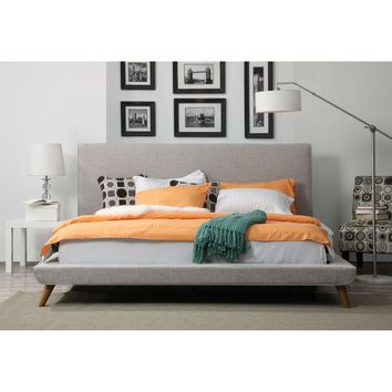 King size Beige Upholstered Platform Bed with Mid-Century Style Legs