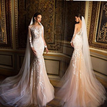 2017 Mermaid Wedding Dresses Boat Neck Sheer Long Sleeves Tulle Bride Gown With Appliques Lace 2016 vestido de noiva