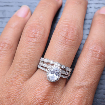 1.25 Carat 3pc Sterling Silver Cubic Zirconia Engagement Ring Sets