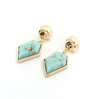 Minimalist Geometric Stone Gold Plated Earrings by Fashnin.com