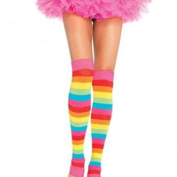 Rainbow Leg Warmers (One Size,Multicolor)