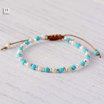 Shamballa Bracelet Top Fashion Turquoise Beads Friendship Bracelet Handmade Boho Beaded Girls Bracelet Gift