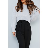 Stay A Little Longer Cropped Sweater (Grey)