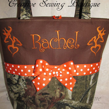 Handmade mossy oak camo camouflage ne she doe buck deer diaper bag you choose name FREE SHIPPING