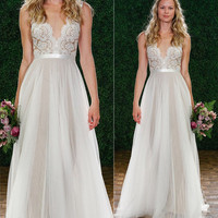 Maxi Dress Chiffon Bridesmaid Deep V Neck Lace Prom Ball Formal Evening Gown Party Wedding Dress