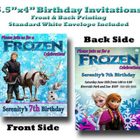 5.5x4 Custom Designed and Printed Birthday Invitations Full color print front and back Frozen Theme