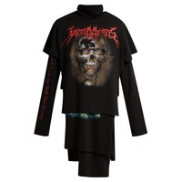 Indie Designs Vetements Inspired Skull Printed Layered Dress