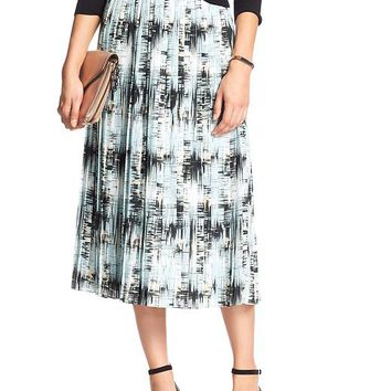 Banana Republic Womens Factory Print Pleated Midi Skirt