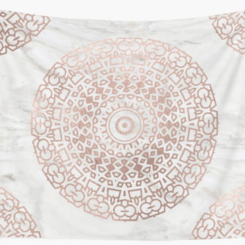'Marble mandala - beaded rose gold on white' Wall Tapestry by marbleco