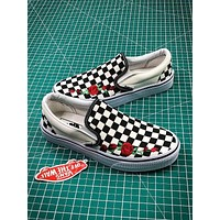 Vans Classic Slip On LX CANVAS Checkerboard Flowers Fashion Shoes - Sale