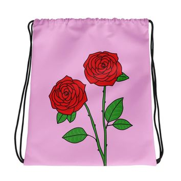Rose Pink Drawstring Bag