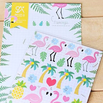 Kawaii Flamingo Planner Sticker Sheet, Cute Stickers, Cute School Supplies