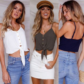 2018 Brand New Women Ladies Summer Vest Check Shirt Sleeveless Knot Tie CropTop Solid Summer Crop Camis Size S-XL
