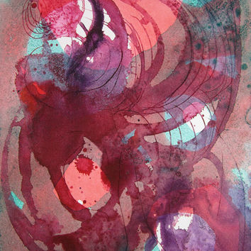 Awhirl Original Watercolor Art - Abstract Painting - Purple - Orange - Green - 9 x 12