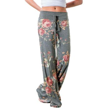Fashion 2017 Women Loose Wide Leg Long Pant Floral Print Casual High Waist Palazzo Leggings Trouser Pajama Pants At Home