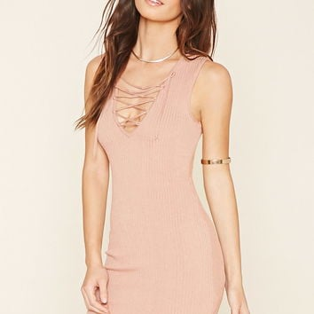 Ribbed Knit Lace-Up Dress