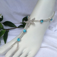 Starfish With Blue Rhinestones Barefoot Sandal, Beach Weddings, Foot Jewelry,  Bridal Barefoot Sandals, Wedding Jewelry