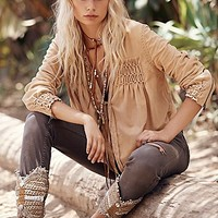 Free People Womens FP New Romantics Smocked Suede Jacket