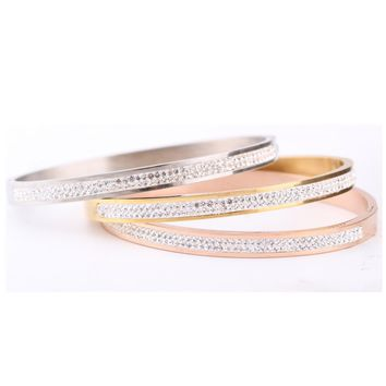 Two Row crystal rhinestone pave stainless steel love bracelets & bangles for women