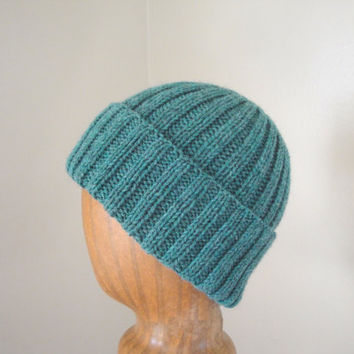 Green Wool Hat, Watch Cap Style, Men & Women, Hand Knit Beanie, Soft Warm Wool Winter Hat