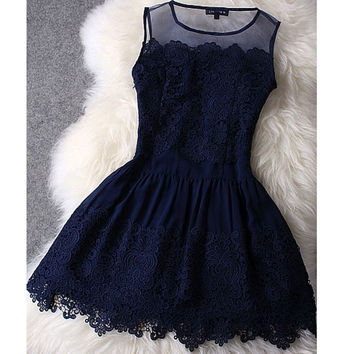 Vintage A-line Illusion Neck Lace Appliqued Mini length Navy Homecoming Dresses,Hot 34