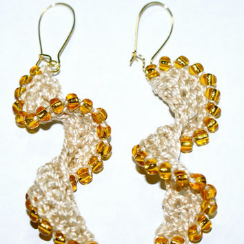 Crocheted Beaded Helix Spiral Earrings
