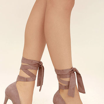 Chantel Mauve Suede Lace-Up Heels
