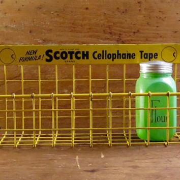 Vintage Display Rack, Scotch Tape Cellophane, Yellow Painted Metal, Wire Basket, General Store, Kitchen Spice Shelf, Advertising Retro Decor