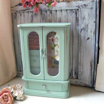 Vintage Mint Jewelry Box, Tall Mint and Coral Jewelry Box, Cottage Chic Pastel Green Jewelry Holder, Gift Ideas