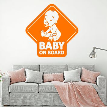 Vinyl Wall Decal Words Quote For Car Baby On Board Stickers (2239ig)
