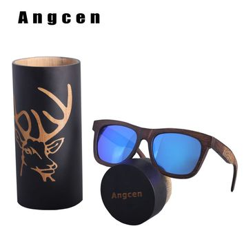 Angcen Luxury Deer Wooden Sunglasses Men Polarized Retro Wood Sun Glasses Women Handmade Vintage bamboo sunglasses in Round Box