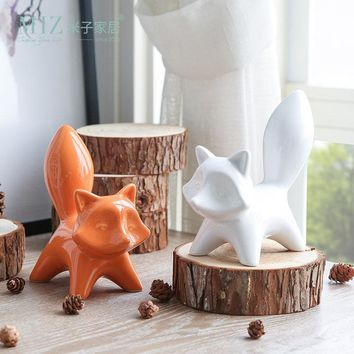 Miz 1 Piece Animal Figurine Toy Birthday Gift for Kids Home Decoration Accessories Ceramic Doll Fox Figures