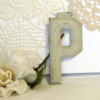 Vintage Letter P Industrial Marquee Chippy Paint c1900 Architectural Salvage 5 Inch Initial Alphabet