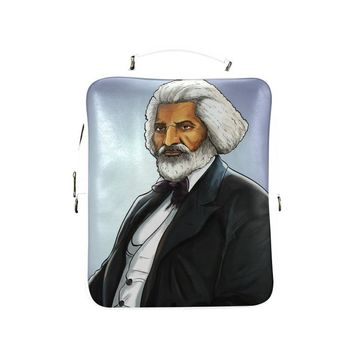 Fredrick Douglass Vegan Leather White Square Backpack (Model 1618)